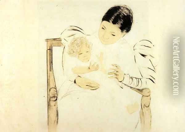 The Barefooted Child, c.1896 Oil Painting - Mary Cassatt