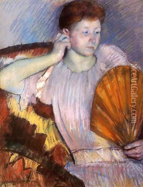 Contemplation (or Clarissa Turned Right with Her Hand to Her Ear) Oil Painting - Mary Cassatt