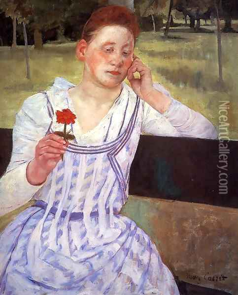 Reverie (or Woman with a Red Zinnia) Oil Painting - Mary Cassatt