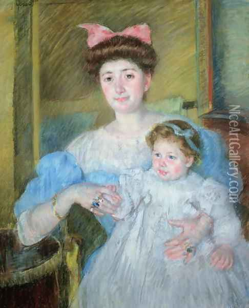 The Countess Morel d'Arleux and her Son, c.1906 Oil Painting - Mary Cassatt