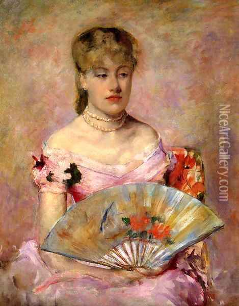 Lady with a Fan (or Portrait of Anne Charlotte Gaillard) Oil Painting - Mary Cassatt