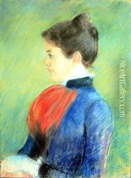 Profile of a Woman Wearing a Jabot Oil Painting - Mary Cassatt