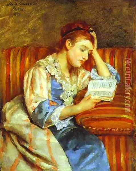 Young Woman Reading Oil Painting - Mary Cassatt
