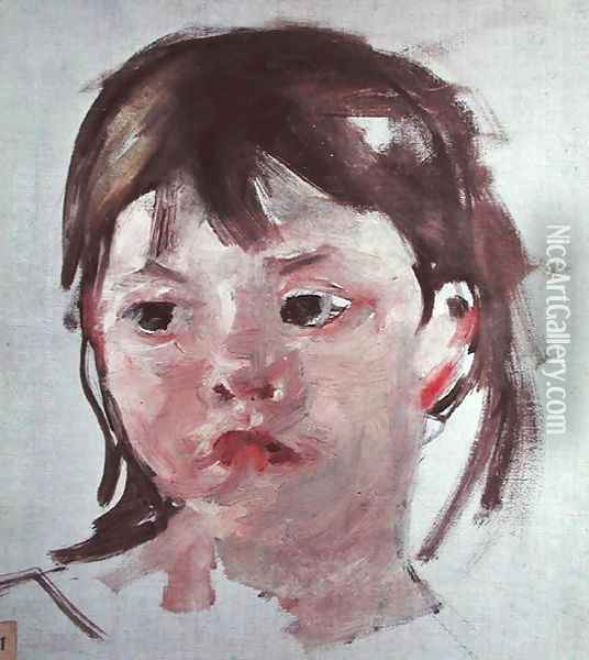 Head of a Young Girl 2 Oil Painting - Mary Cassatt