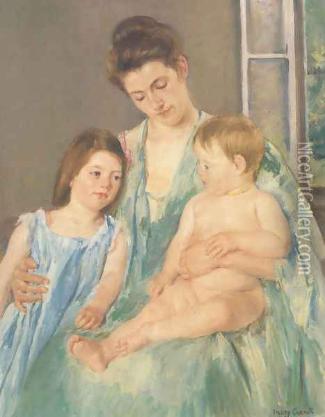 Young Mother And Two Children 1908 Oil Painting - Mary Cassatt
