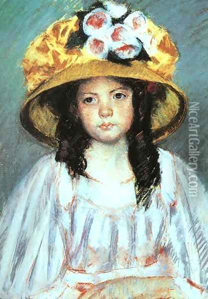 Girl in a Large Hat Oil Painting - Mary Cassatt