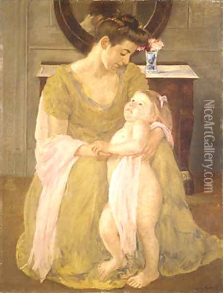 Mother and Child with a Rose Scarf 1908 Oil Painting - Mary Cassatt