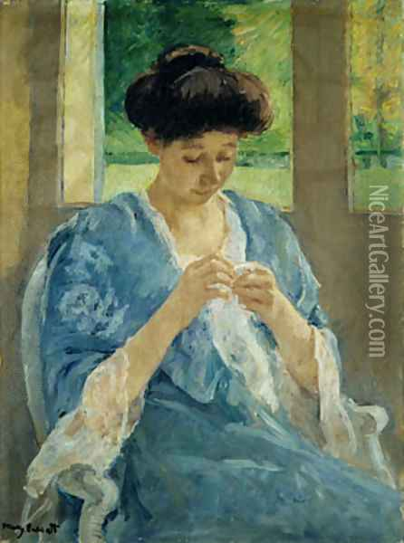 Augusta Sewing Before a Window 1905 Oil Painting - Mary Cassatt