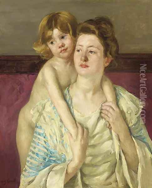 Antoinette Holding Her Child by Both Hands Oil Painting - Mary Cassatt