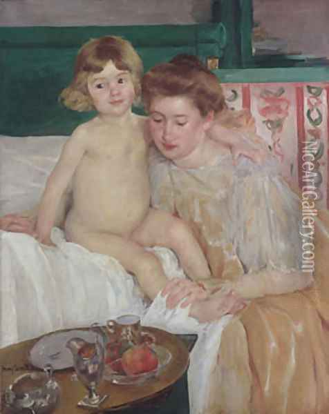 Mother and Child (Baby Getting Up from His Nap) Oil Painting - Mary Cassatt