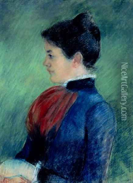 Study of a Woman in a Blue Blouse with a Red Ruff 1895 Oil Painting - Mary Cassatt