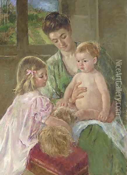 Children Playing with a Dog Oil Painting - Mary Cassatt