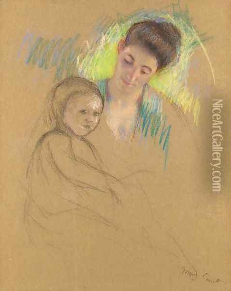 Sketch of Mother Jeanne Looking Down at Her Baby Oil Painting - Mary Cassatt