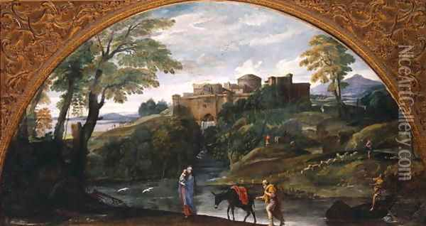 Landscape with the Flight into Egypt Oil Painting - Annibale Carracci