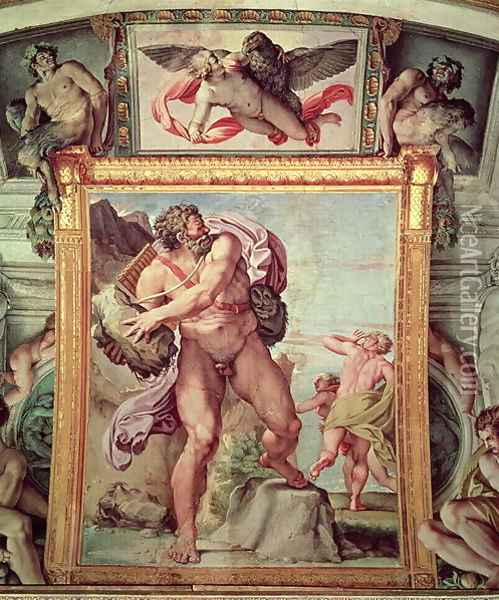 Polyphemus Attacking Acis and Galatea, 1597-1604 (detail) Oil Painting - Annibale Carracci