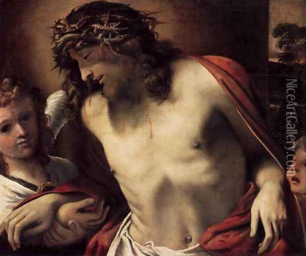Christ Wearing the Crown of Thorns, Supported by Angels 1585-87 Oil Painting - Annibale Carracci