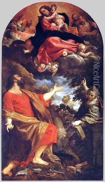 The Virgin Appears to Sts Luke and Catherine 1592 Oil Painting - Annibale Carracci