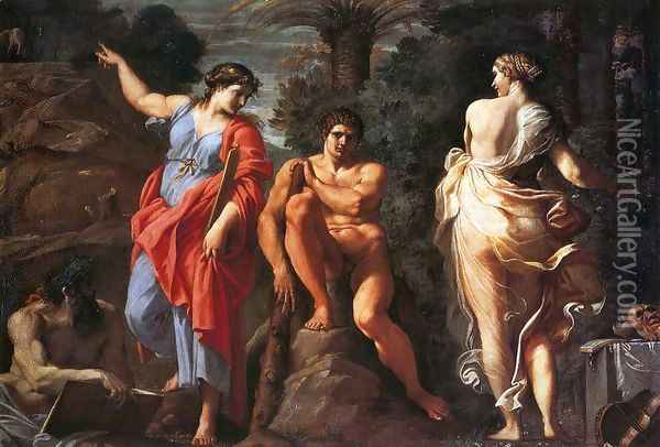 Hercules at the Crossroads Oil Painting - Annibale Carracci