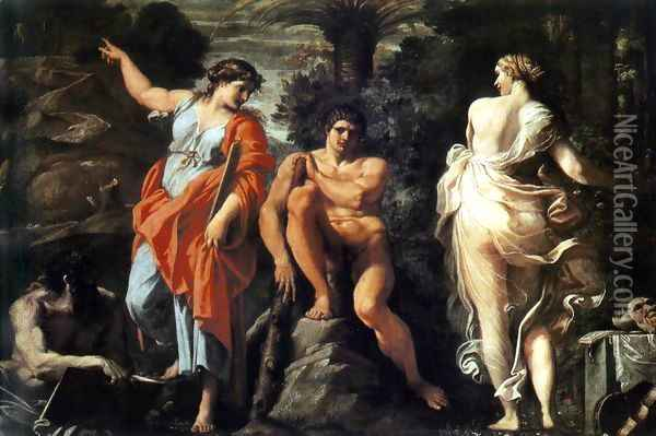 The Choice of Heracles c. 1596 Oil Painting - Annibale Carracci