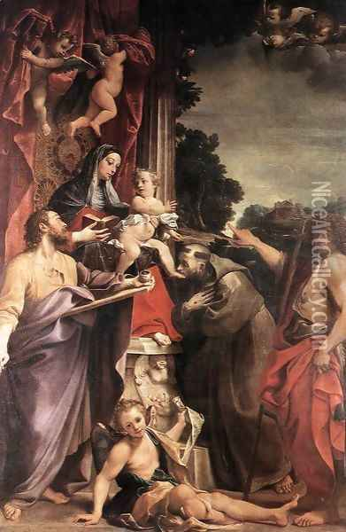 Madonna Enthroned with St Matthew 1588 Oil Painting - Annibale Carracci