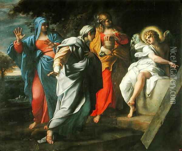 The Holy Women at Christ's Tomb, c.1597-8 Oil Painting - Annibale Carracci