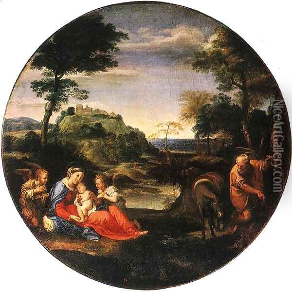 Rest on Flight into Egypt c. 1600 Oil Painting - Annibale Carracci