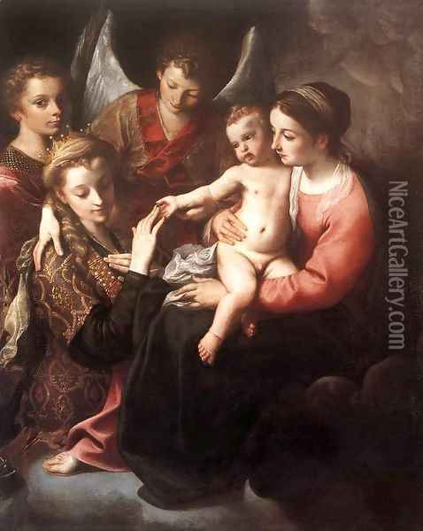 The Mystic Marriage of St Catherine 1585-87 Oil Painting - Annibale Carracci