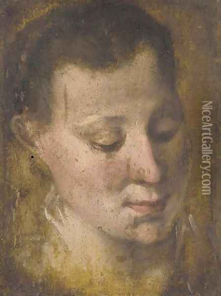 Head of a girl looking down to the right, her hair held in a plait Oil Painting - Annibale Carracci