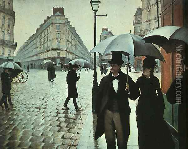Paris Street- Rainy Weather 1877 Oil Painting - Gustave Caillebotte