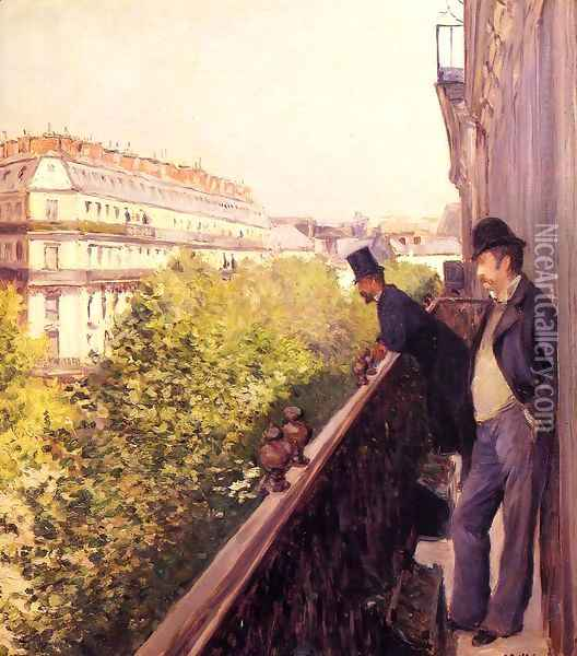 A Balcony Oil Painting - Gustave Caillebotte