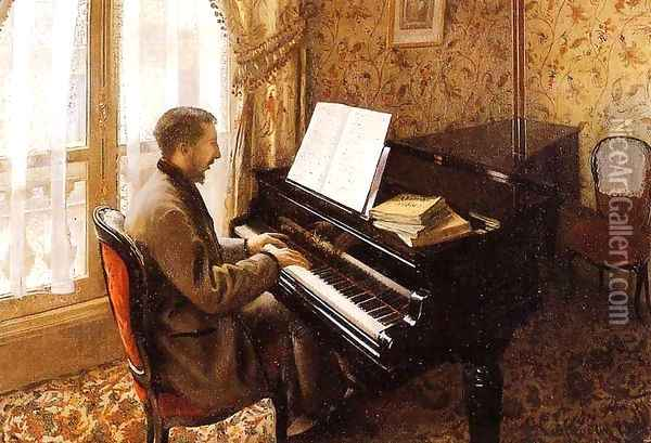 Young Man Playing The Piano Oil Painting - Gustave Caillebotte