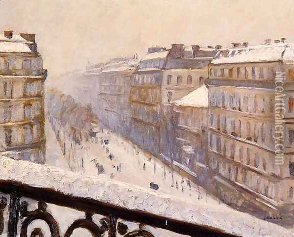 Boulevard Haussmann Snow Oil Painting - Gustave Caillebotte