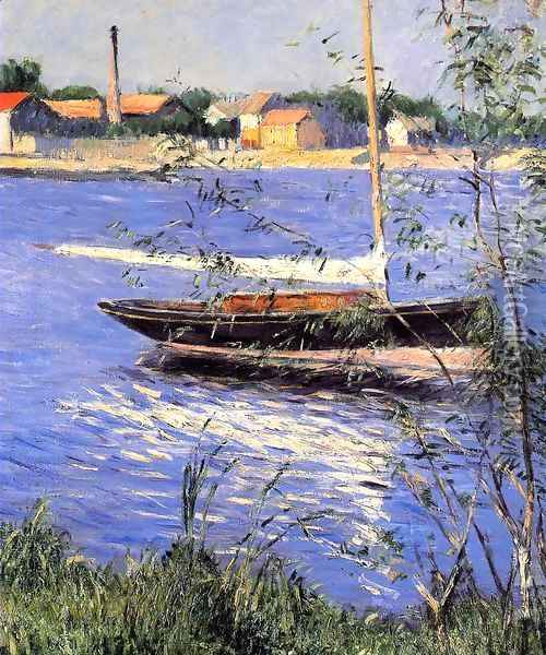 Anchored Boat On The Seine At Argenteuil Oil Painting - Gustave Caillebotte