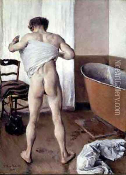 Man At His Bath Oil Painting - Gustave Caillebotte