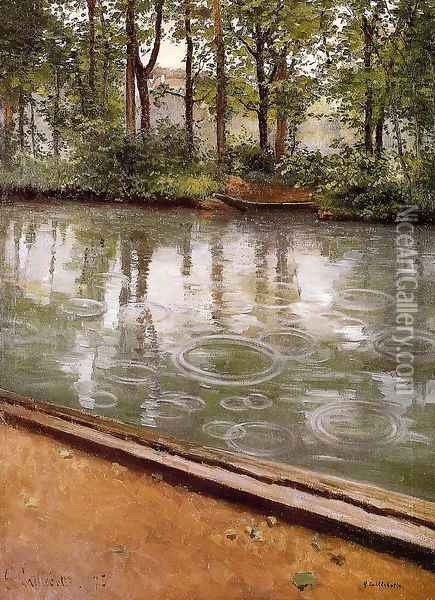 The Yerres Rain Aka Riverbank In The Rain Oil Painting - Gustave Caillebotte