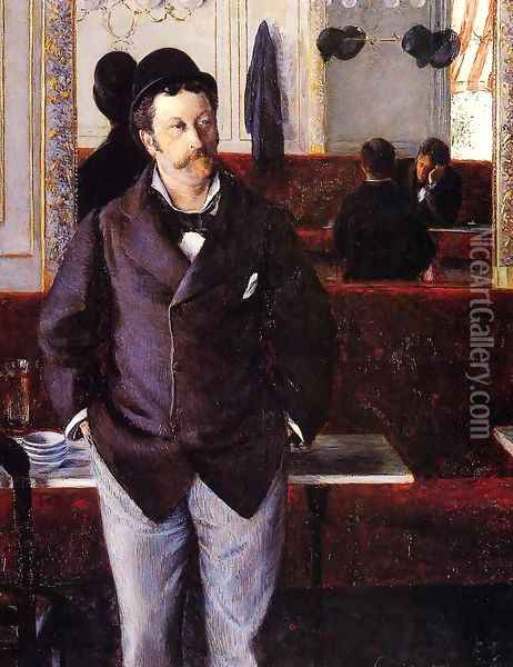 In A Cafe Oil Painting - Gustave Caillebotte