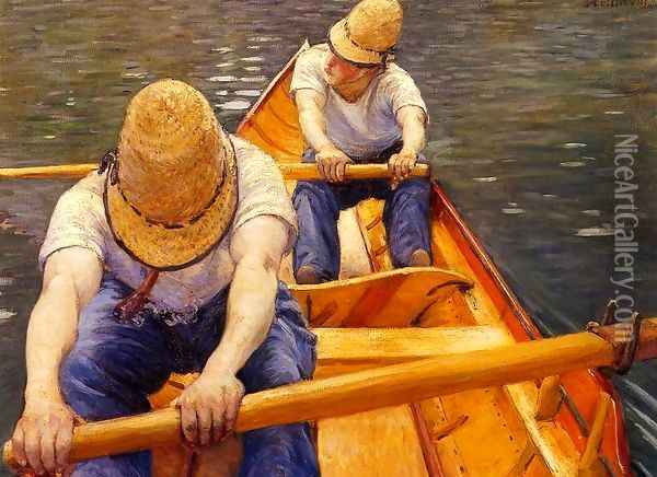 Oarsmen Oil Painting - Gustave Caillebotte