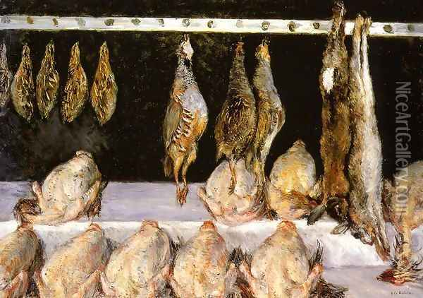 Display Of Chickens And Game Birds Oil Painting - Gustave Caillebotte