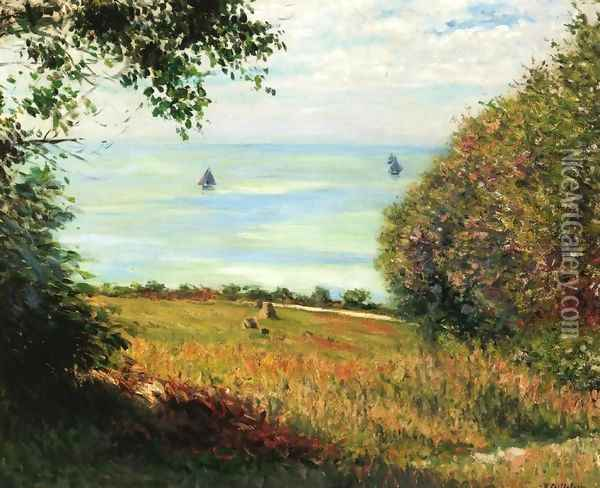 View Of The Sea From Villerville Aka Sea Scape Oil Painting - Gustave Caillebotte