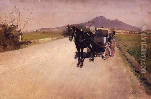 A Road Near Naples Oil Painting - Gustave Caillebotte