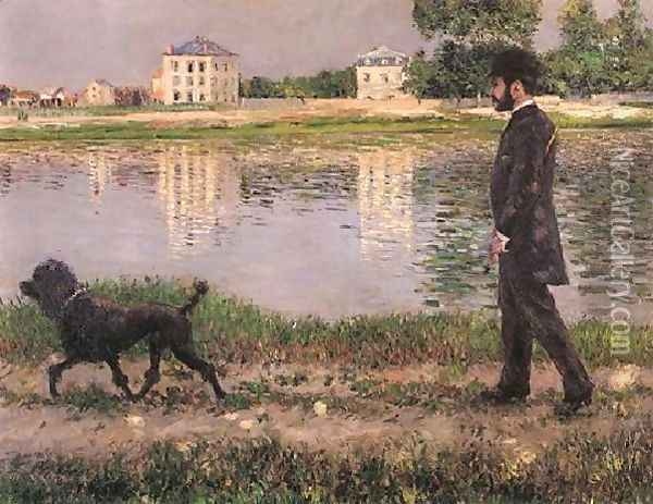 Richard Gallo And His Dog At Petit Gennevilliers Oil Painting - Gustave Caillebotte
