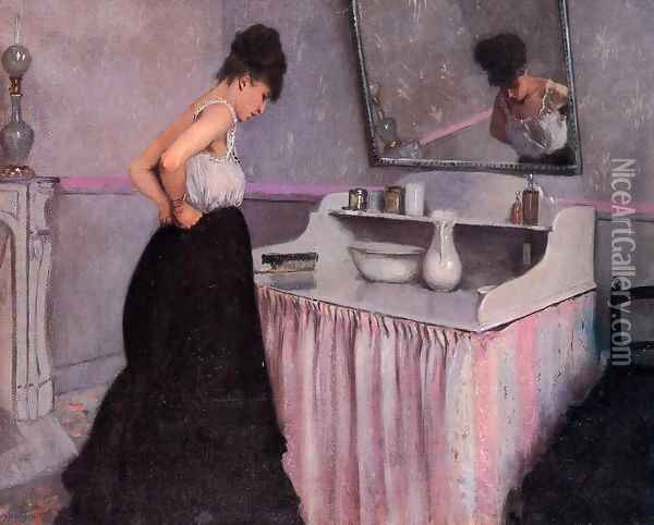 Woman At A Dressing Table Oil Painting - Gustave Caillebotte
