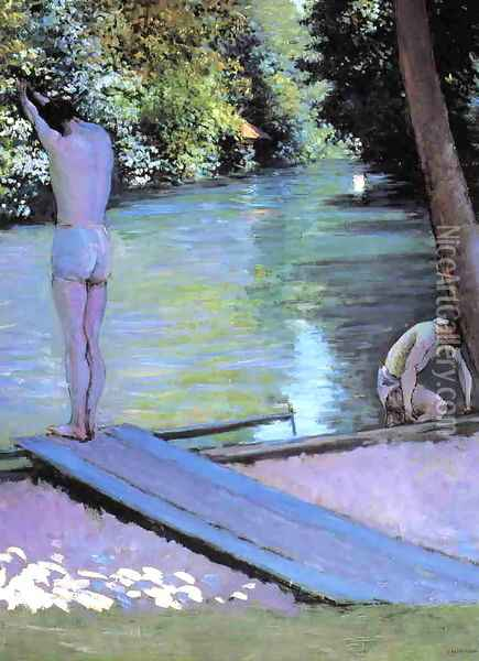 Bather Preparing To Dive Banks Of The Yerres Oil Painting - Gustave Caillebotte