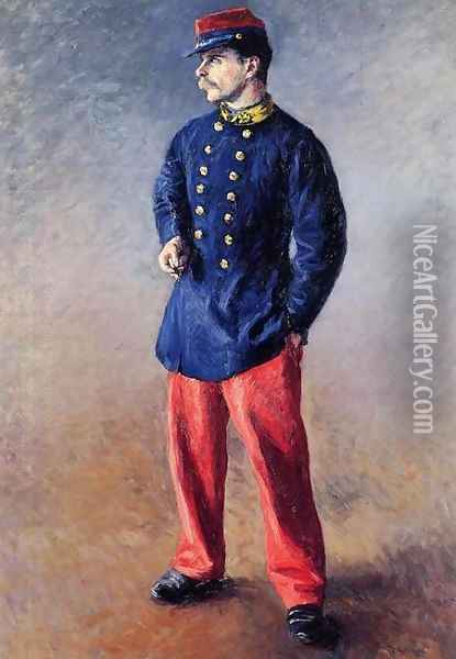 A Soldier Oil Painting - Gustave Caillebotte