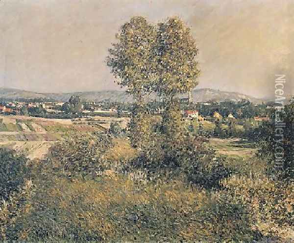 Landscape At Argenteuil Oil Painting - Gustave Caillebotte