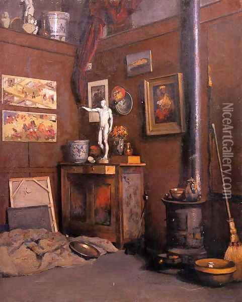 Interior Of A Studio With Stove Oil Painting - Gustave Caillebotte