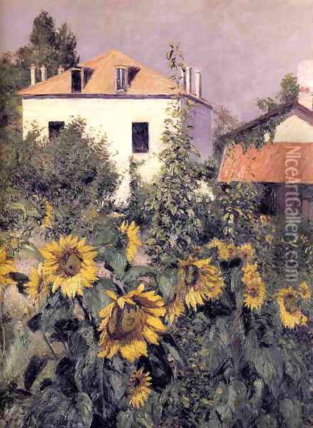 Sunflowers Garden At Petit Gennevilliers Oil Painting - Gustave Caillebotte