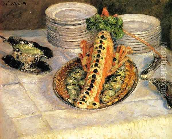 Still Life With Crayfish Oil Painting - Gustave Caillebotte