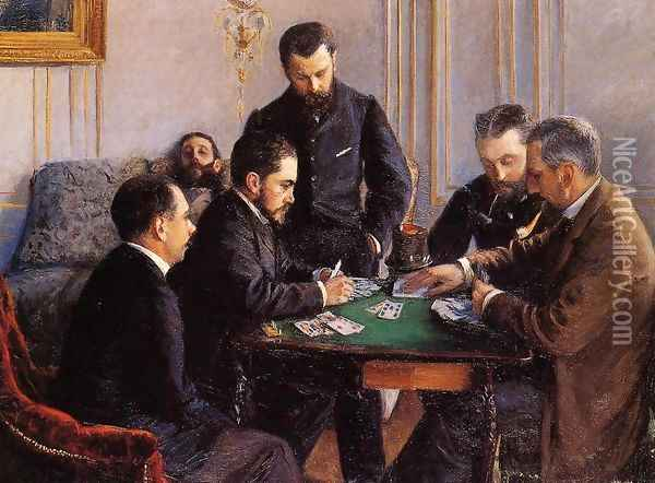Game Of Bezique Oil Painting - Gustave Caillebotte