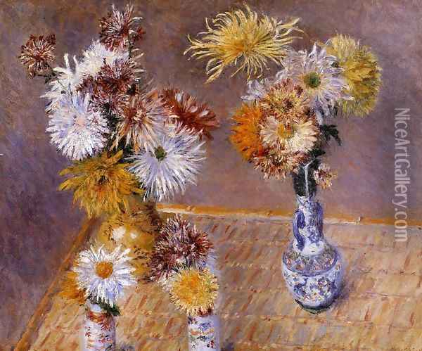 Four Vases Of Chrysanthemums Oil Painting - Gustave Caillebotte